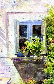 Blue Window ... Allan Kirk's impressionistic watercolour exercise shows how to capture light & present the beauty that can be found in the simplest of subjects. The composition is brought to life by the way transparent watercolour is used to reflect the strong light & dark tones found under the southern French sun.