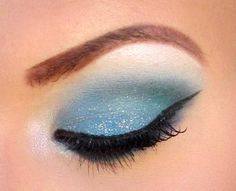 Glittery Sky Blue Eye Makeup