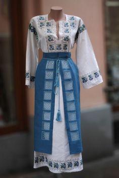 Ukraine, from Iryna Folk Fashion, Muslim Fashion, Ethnic Fashion, Womens Fashion, Ukrainian Dress, Ethno Style, Blue And White Dress, African Lace, Traditional Fashion