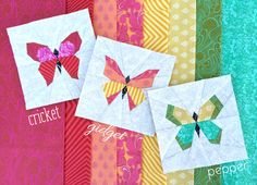 """Say hello to Cricket, Gidget & Pepper, the Butterfly Charm Blocks! These little paper pieced blocks measure 5.5"""" after piecing and can be used as a 5"""" finished square or trimmed to 5"""" for a 4.5"""" finis"""
