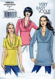 Vogue Miss pullover top  size Lrg and XLG uncut  sewing pattern free shipping