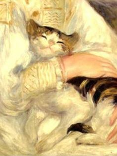 Detail from the Painting Julie Manet (child with cat) by Pierre Auguste Renoir. 1887