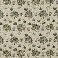 Orchard from the Archive Collection by William Morris. Inspired by medieval tapestries a printed linen type with trees and meadow flowers in greens and indigo blue on a beige cloth. Linen Curtains, Curtains With Blinds, Curtain Fabric, Medieval Tapestry, Painted Rug, Thing 1, Gold Fabric, Concept Home, Printed Linen