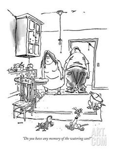 """Do you have any memory of the watering can?"" - New Yorker Cartoon Premium Giclee Print by George Booth at Art.com"