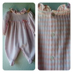 Vintage Baby Girl Clothes  Pink & White Footed by NellsNiche, $12.00