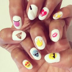 Emoji nail art is almost too cute. Get inspired for your next manicure with these fun looks! Love Nails, How To Do Nails, Pretty Nails, Cute Nail Art, Beautiful Nail Art, Emoji Nails, Nagellack Design, Nagel Hacks, Nails For Kids