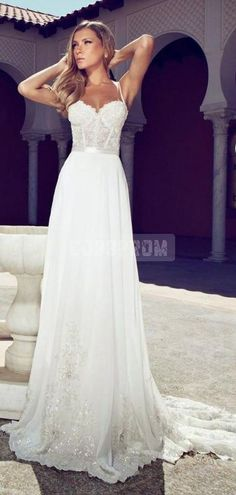 """""""A-line Chiffon Spaghetti Straps Corset Lace Bodice Wedding Dress"""" Funny...this is actually one of my dream designs for a nightgown...oh well...!"""