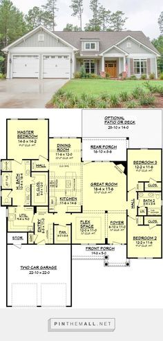 Craftsman Style House Plan - 3 Beds 2 Baths 2136 Sq/Ft Plan #430-91 - created via https://pinthemall.net