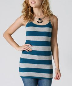Heather Gray & Teal Stripe Tank