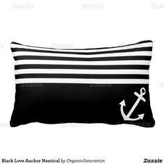 Black Love Anchor Nautical Pillows