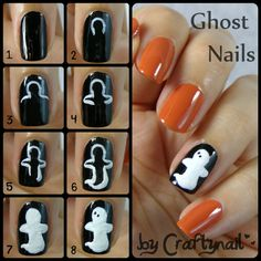 Craftynail shared these cute ghost nails and how to make them