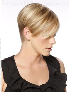 High Profile Cute Blonde Short Cut Over The Ears - Side View: