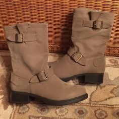 Mid High Boots Brand New. Color: Taupe.  Style: RE-HARLICK.  All Man-made Materials (Suede-like material). Relativity Shoes Combat & Moto Boots
