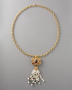 Pearl-Tassel Pendant Necklace by Jose & Maria Barrera at Neiman Marcus.