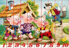 Puzzles recortables con motivos de cuentos. Estos puzzles son muy fáciles de hacer porque están acompañados de números. Mírame y aprenderás en Facebook Preschool Learning Activities, Infant Activities, Brighton Map, Counting Puzzles, World Map Wallpaper, Free Printable Art, Easy Easter Crafts, Tracing Letters, Three Little Pigs