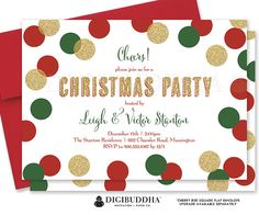 Festive red, green, and gold glitter confetti dots Christmas party invitation. Choose from ready made printed invitations with envelopes or printable holiday party invitations. Red envelopes and matching envelope liners available at digibuddha.com