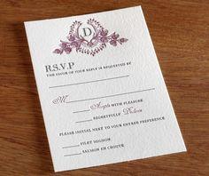 cathryn letterpress wedding invitation - monogram with response card
