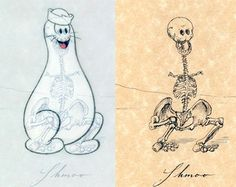 Shmoo Skeleton. Series of clever illustrations by Michael Paulus shows realistic skeletons of fictional characters from popular cartoons and comic books.   Detailed skeletons of cartoon characters with accurate bone structures.