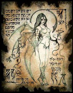 Succubus LILITH horror de vampiro de espíritu oscuro de Necronomicon página demonio oculta magia
