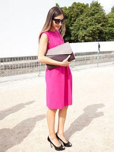 Fall 2013 Couture Week Street Style: Elmira, wearing a Dior dress