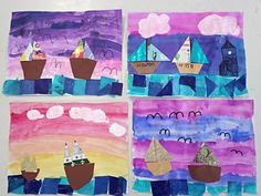 Visit the site for more inspiration. Craft Activities For Kids, Crafts For Kids, Arts And Crafts, Grade 2, Second Grade, Sailboat Art, School Clubs, Sea Crafts, Kindergarten Art