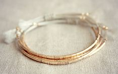 Luxury Lucia Bracelet / Friendship Bracelet with Thin Row of 80 Small Gold Beads