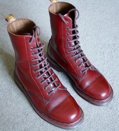 10 Hole Ox Blood DM's, made in England, my Mum bought my first pair in 1975, I was 12, and they cost £12, I even remember the shop we bought them in.