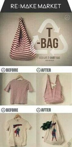 reciclar camisetas y convertirlas en bolsos