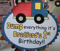 Construction Party Sign Dump Truck Birthday DOOR by bcpaperdesigns