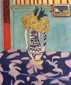 Henri Matisse Yellow Flowers and Blue and Pink Tablecloth  1911