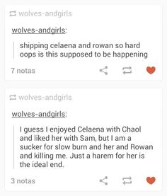 I love Rowan and Celaena as best friends and that blood oath scene omg! I'm a chaolaena shipper!