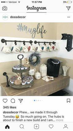 Bar ideas #Coffee station ideas you need to see (coffe bar ideas) #Coffeebar #Coffeestation Coffee Area, Coffee Center, Coffee Nook, Coffee Coffee, Coffee Time, Coffee Bar Station, Home Coffee Stations, Coffe Bar, Tea Station