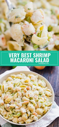 Very Best Shrimp Macaroni SaladDo you want to be the most popular person at the picnic? Then make my Grandma's Very Best Shrimp Macaroni Salad! Meaty chunks of shrimp, crispy celery and onions and tender pasta covered in a creamy and super flavorful Macaroni Recipes, Pasta Salad Recipes, Seafood Recipes, Cooking Recipes, Healthy Recipes, Healthy Food, Cooking Ham, Meat Recipes, Recipies