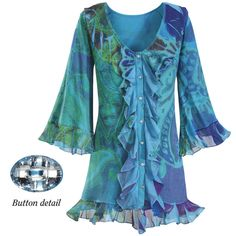 Aww, how sweet and romantic!  Turquoise Dream Tunic Top.   Turquoise Dream. Romantic? Absolutely! Rippling ruffles at the neckline, crystal-buttoned front, and hem add to the fluttery grace of this dreamy, tunic-length top. Ruffled, three-quarter bell sleeves. Polyester/rayon/spandex. Hand washable. Made in USA. Color: Turquoise
