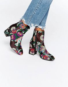 Daisy Street Embroidered Heeled Ankle Boots