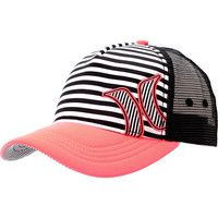 Hurley Girls Striped Black & Coral Snapback Trucker Hat