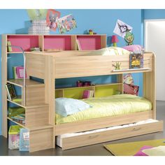 Furniture, Fancy Decorating Children Loft Bed Plans For Little Girls Bedroom With Wooden Frame And Interesting Shelves And Stairs With Blue Interior Walls And Dark Floor With Thin Rugs: Funiture Design Children Loft Bed Plans