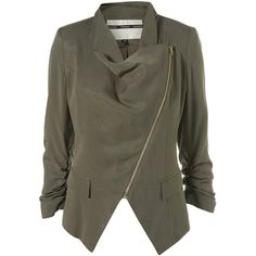 8582019428c See this and similar jackets - Draped tencil bizer in khaki with a contrast  gold zip