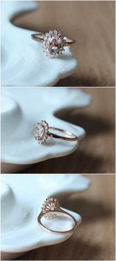 Oval Cut Morganite Engagement Ring / http://www.deerpearlflowers.com/inexpensive-engagement-rings-under-1000/2/