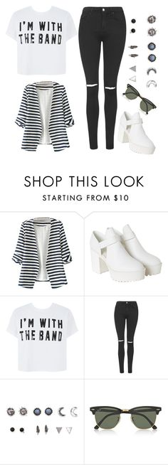 """""""I'll ride home laughing, look at me now"""" by live-laugh-love-btr ❤ liked on Polyvore featuring Monki, Topshop, With Love From CA and Ray-Ban"""
