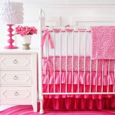 Caden Lane Girly Pink Leopard Baby Bedding Collection