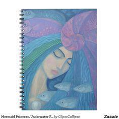 Mermaid Princess, Underwater Fantasy, Pink Blue Spiral Notebook