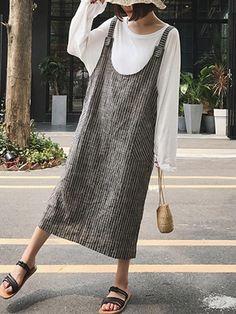 82500a8bc52 2018 Celmia Women Strappy Sleeveless Striped Loose Suspense Dress Backless  Split Hem Baggy Pockets Dungarees Vestido Plus Size-JetSet-JetSet