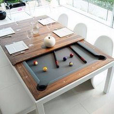 FUSION TABLES: a dining table and pool table all in one. Remove the multi-piece dining top to unveil a beautiful pool table with a contemporary sleek design offering nice wooden and lacquered finishings. Pool Table Dining Table, Pool Table Room, Diy Pool Table, Outdoor Pool Table, Play Table, White Pool Table, Full Size Pool Table, Patio, Outdoor Dining