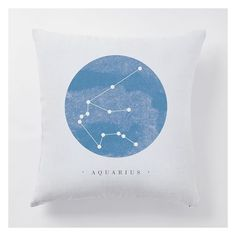 West Elm Digital Print Horoscope Constellations Pillow Cover, White... ($19) ❤ liked on Polyvore featuring home, home decor, throw pillows, white home decor, white home accessories, canvas home decor, canvas throw pillows and white toss pillows