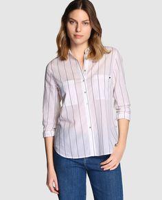 Camisa de mujer Southern Cotton con rayas y bolsillos