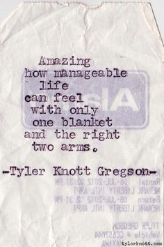 Amazing how manageable life can feel with only one blanket and the right two arms.