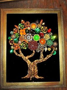 Vintage-Costume-Jewelry-Fall-Tree-Framed-Rhinestones-Beads-Christmas-10x12