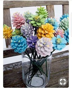 This Pine Cone Flowers Craft is an easy diy and you are going to love the gorgeous results. Turn your Pine Cones Upside Down and they turn into Zinnias. (fall crafts for kids pine cones) Pine Cone Art, Pine Cones, Pine Cone Wreath, Easter Crafts, Christmas Crafts, Christmas Christmas, Painted Pinecones, Pine Cone Decorations, Valentine Decorations