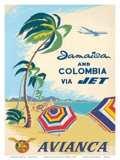 Jamaica & Columbia via Jet Travel c.1960s